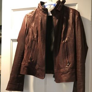 June oxblood leather jacket.